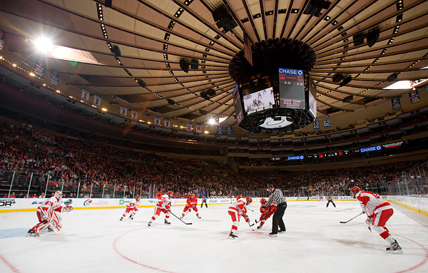 Face-off below Madison Square Garden's iconic ceiling