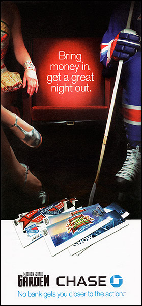 Chase advertisement featuring a Rockette and a New York Rangers hockey player