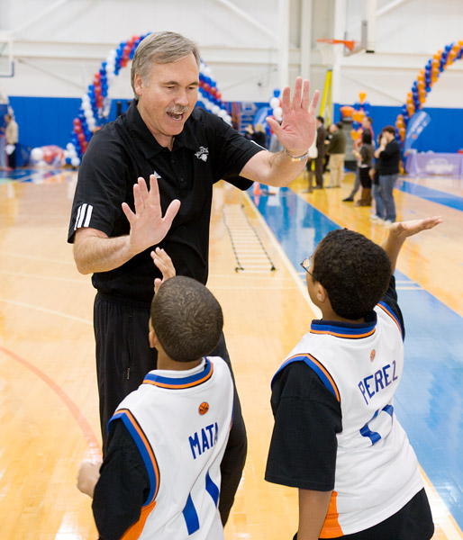 Coach D'Antoni congratulates his players