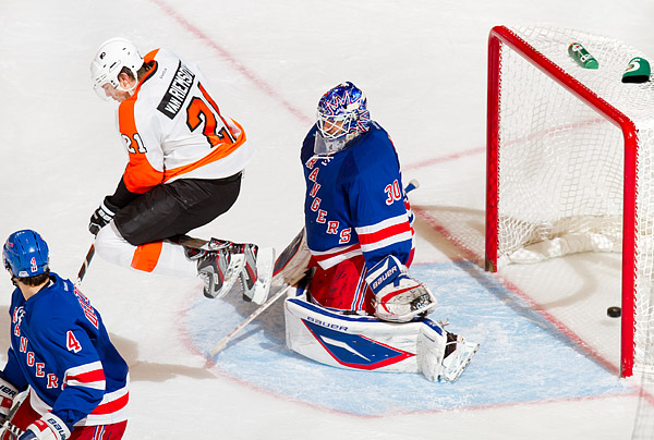 The Flyers finally slip one past Henrik Lundqvist, who was screened by James Van Riemsdyk, late in the game