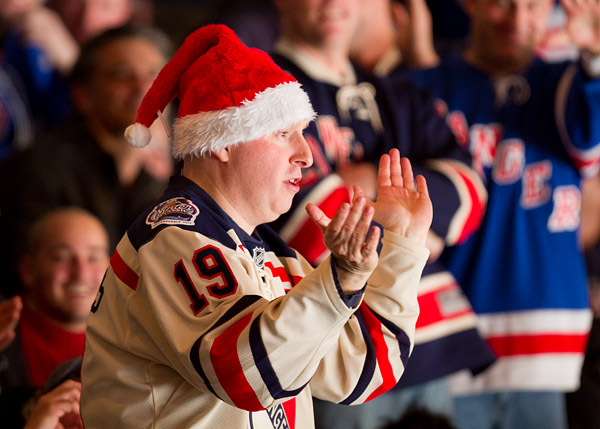 Rangers (and Christmas) super-fan Dancing Larry gets the crowd pumped