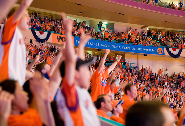 New York Knicks fans cheer on their team in a playoff series against the Boston Celtics at Madison Square Garden