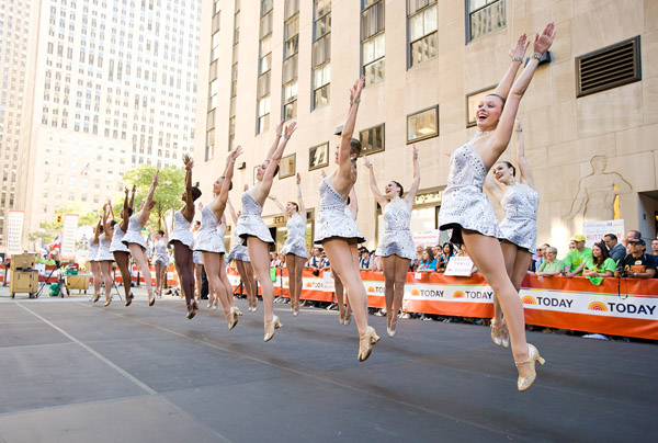 The Radio City Rockettes perform a new number, in a new costume, on The Today Show in Rockefeller Center