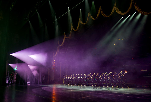 The Rockettes rehearse on stage at Radio City Music Hall