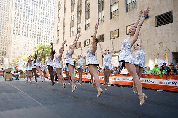 The Rockettes perform on The Today Show in New York's Rockefeller Plaza