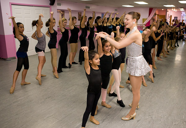 The Rockettes teach a class at a dance school in New Jersey