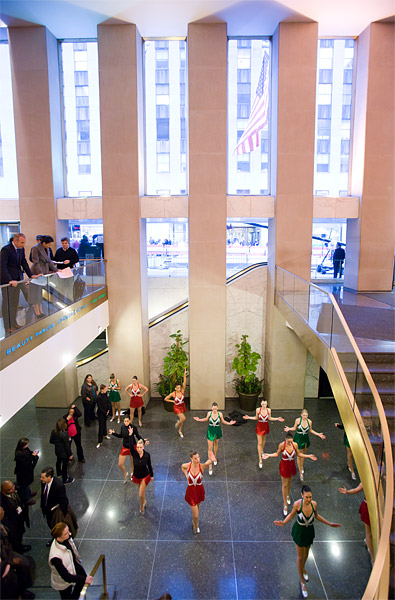 The Rockettes warm up at NBC Studios before heading outside for their appearance