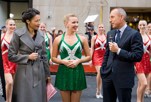 Today Show hosts Ann Curry and Matt Lauer with the Rockettes