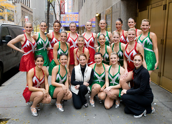 The Rockettes, dance captain Karen and event swing Katie after the performance