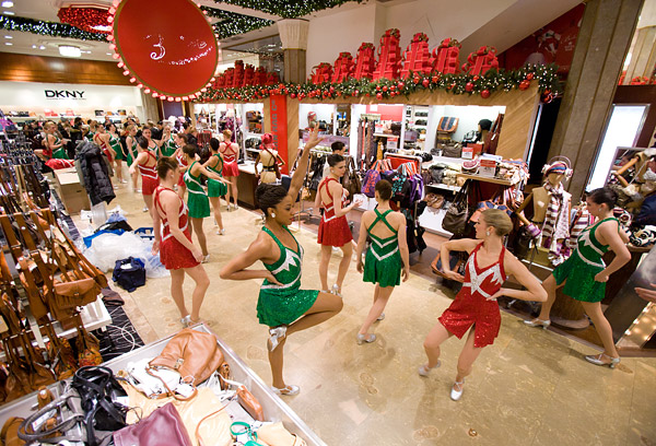 The Rockettes warm up inside the Macy's flagship store in midtown Manhattan