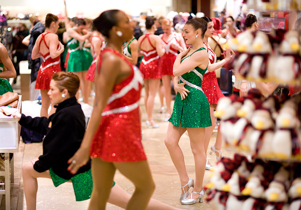 Rockettes warming up for their Thanksgiving Parade performance