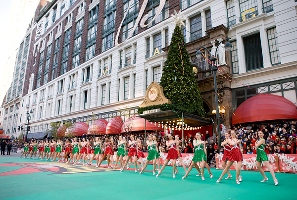 Rockettes performing at the 85th Annual Macy's Thanksgiving Day Parade