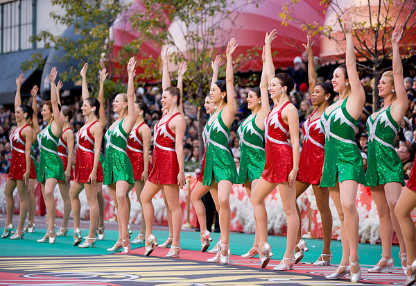 Rockettes performing in Thanksgiving Parade in New York City