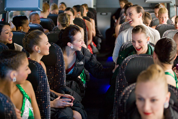 Rockettes on the bus back to Radio City