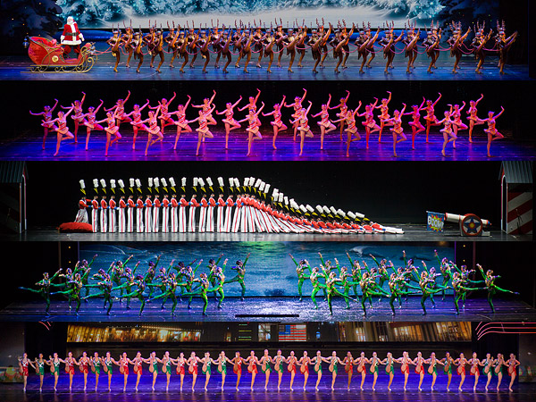 A composite image of five scenes from the 2011 Radio City Christmas Spectacular highlights the wide-ranging talent of the Rockettes