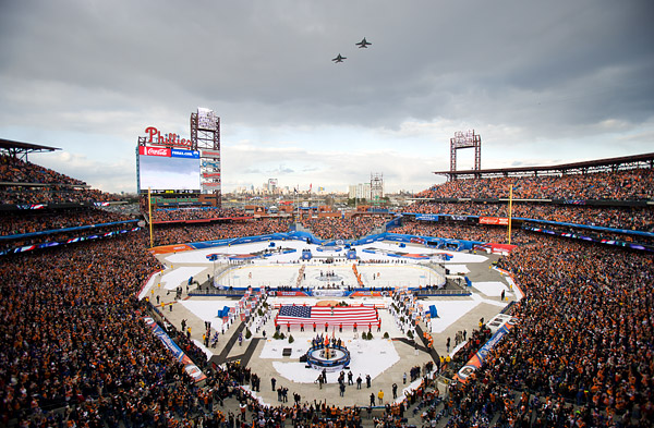 National anthem and jet flyover before the start of the Winter Classic