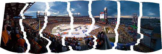 Pieces of NHL Winter Classic panorama