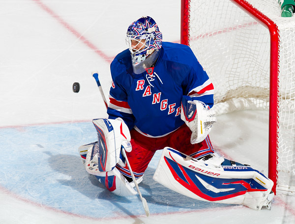Rangers goaltender Henrik Lundqvist makes one of his 27 saves