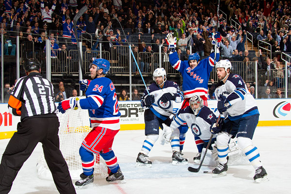 Rangers Ryan Callahan (#24) and Brian Boyle celebrate Callahan's first period goal