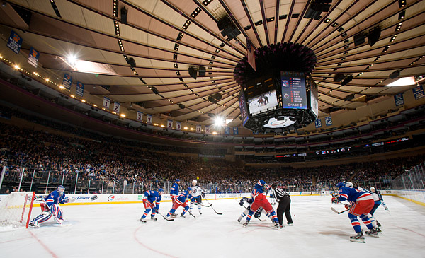 Faceoff under Madison Square Garden's iconic ceiling