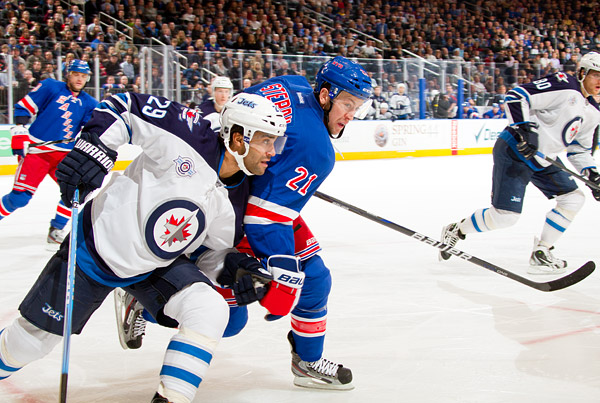 Winnipeg's Johnny Oduya and New York's Derek Stepan