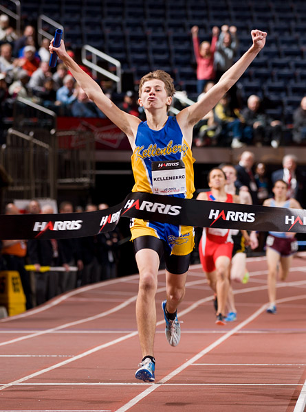 Kellenberg's Dylan Murphy celebrates as he crosses the finish line in the high school 4x800m