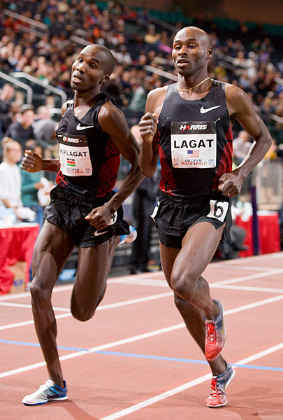 Silas Kiplagat passes Bernard Lagat in the final lap of the mile race
