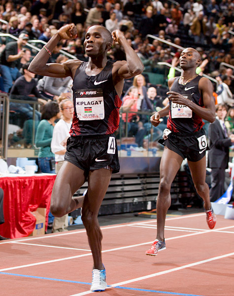 Silas Kiplagat celebrates his win over the 8-time Millrose Games Wanamaker Mile winner