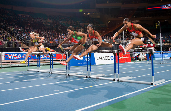 Lolo Jones wins the women's 50m hurdles