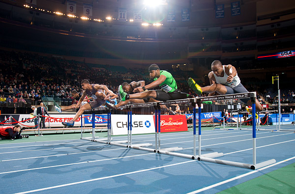 Terrance Trammell wins the men's 50m hurdles
