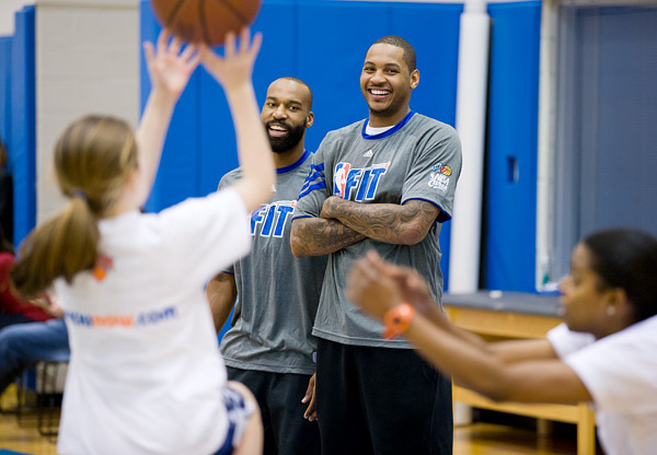 New York Knicks Carmelo Anthony and Baron Davis