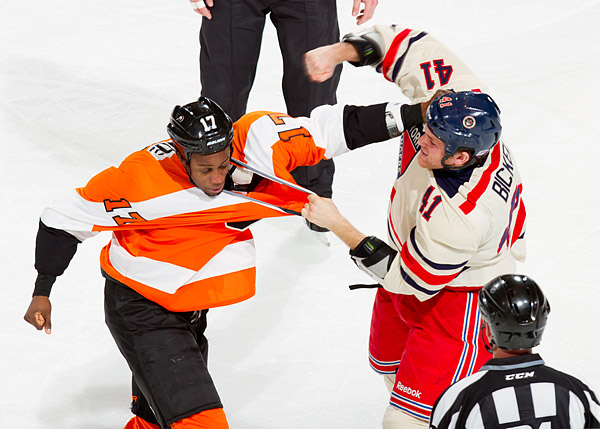 New York's Stu Bickel spars with Philadelphia's Wayne Simmonds
