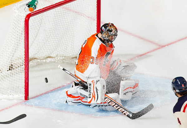 Michael Del Zotto's shot skips past Flyers goalie Ilya Bryzgalov in the third period for the game-winning goal