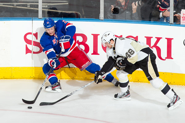 New York's Derek Stepan and Pittsburgh's Tyler Kennedy