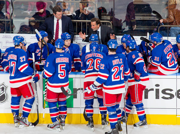 Rangers head coach John Tortorella address his team during a timeout