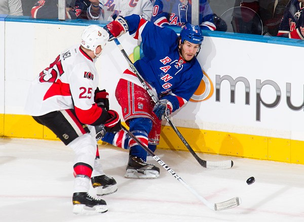 New York's Brandon Prust and Ottawa's Chris Neil