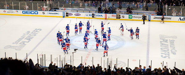 Rangers playoff stick salute