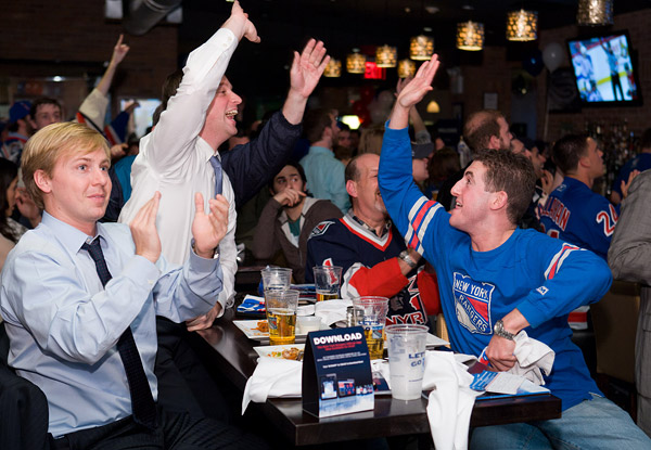 New York Rangers fans high-fiving