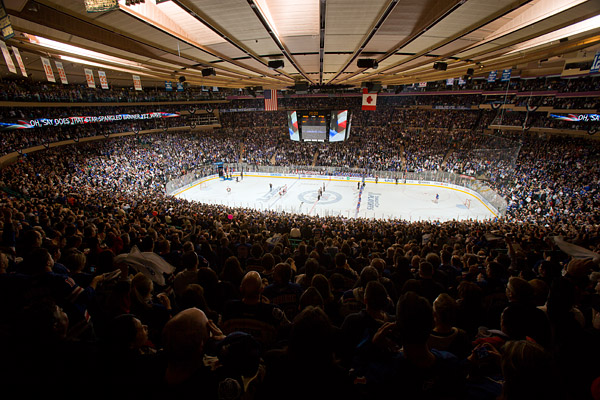 Madison Square Garden, packed to the brim for the national anthem