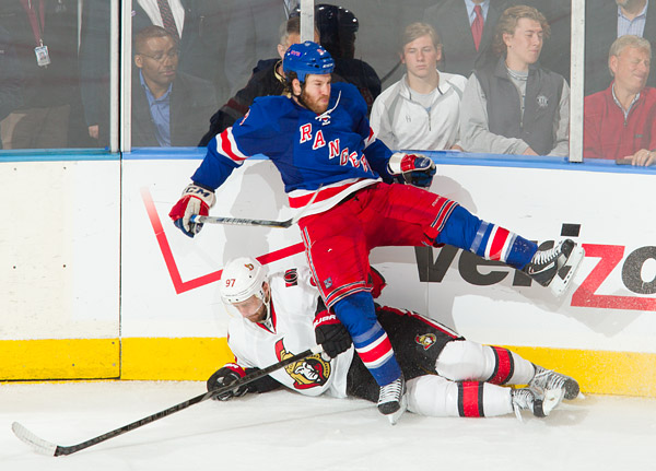 The Rangers' Brandon Prust and Senator (and former Ranger) Matt Gilroy