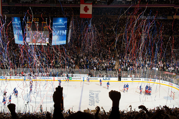 Streamers fall from the ceiling at Madison Square Garden