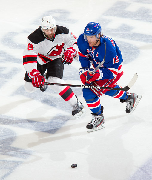 The Rangers' Brad Richards and Devils' Andy Greene