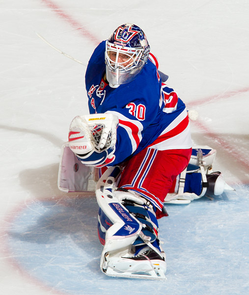Henrik Lundqvist makes one of his 21 saves