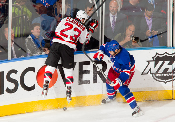 New York's Dan Girardi and New Jersey's David Clarkson