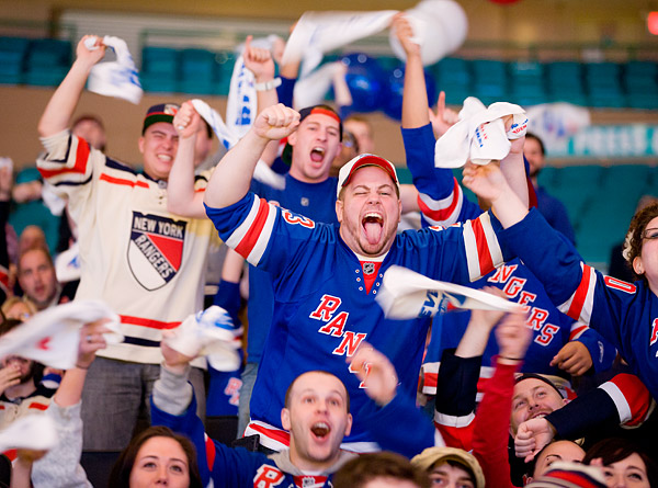 New York Rangers fans show their pride at a viewing party at Madison Square Garden for Game 4 of the Stanley Cup Eastern Conference Finals vs. the New Jersey Devils