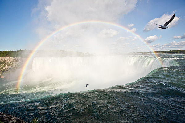 Rainbow over Horseshoe Falls at Niagara Falls in Ontario, Canada