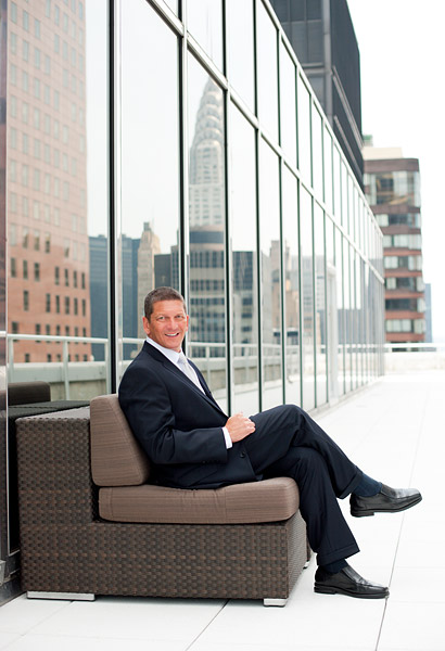 Corporate portrait on a rooftop in midtown Manhattan