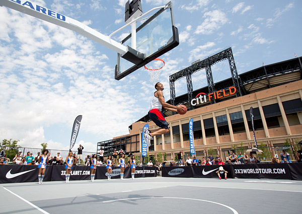 The FIBA 3x3 World Tour Dunk Contest outside Citi Field, home of the New York Mets.