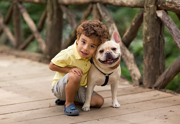 3-year-old Noah and his dog Jackson in New York City's Central Park.