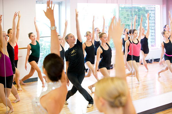 The Radio City Rockettes teach a class at a dance school in Long Island